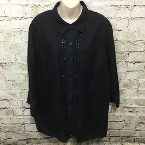 Covington Black Linen Button Down Shirt BB11